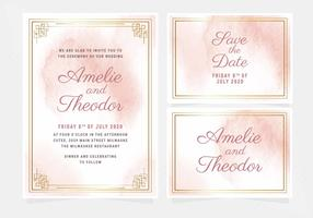 Vector Pink Watercolor Wedding Invitation