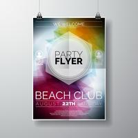 Vector Party Flyer modelo de cartaz no tema Summer Beach