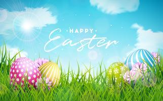 Ilustración feliz del día de fiesta de Pascua con el huevo y la flor pintados en la hierba de la naturaleza
