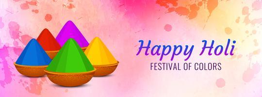 Beautiful Happy Holi celebration banner template