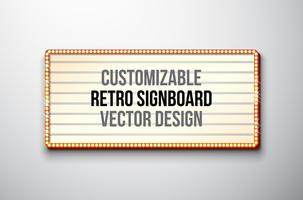 Retro signboard or lightbox illustration with customizable design