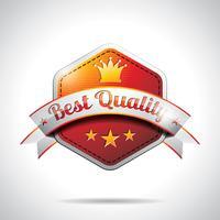 Vektor-beste Qualitätskennzeichnungs-Illustration mit glänzendem angeredetem Design