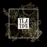 Time to drink tea. Trendy poster