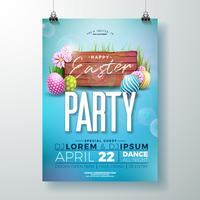 Vector Easter Party Flyer Illustration with painted eggs and flower