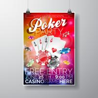Vector Party Flyer design on a Casino theme with chips and cards on color background.