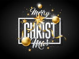 Merry Christmas Illustration with Gold Glass Ornaments