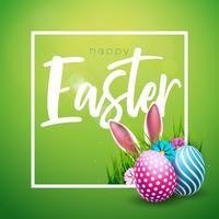 Vector l'illustrazione della festa di Pasqua felice con l'uovo dipinto, le orecchie di coniglio ed il fiore su fondo verde brillante. Design internazionale delle celebrazioni con tipografia per biglietti di auguri, inviti per feste o banner promoz