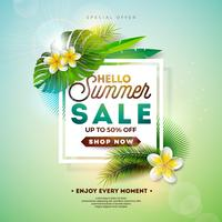 Summer Sale Design with Flower and Exotic Leaves
