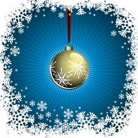 Christmas illustration with gold ball on blue background