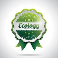 Vector Ecology Product Labels Illustration with shiny styled design on a clear background. EPS 10.
