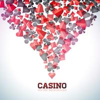 De speelkaartsymbolen van het casino op witte achtergrond
