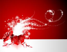 Christmas illustration with gift box on red background.