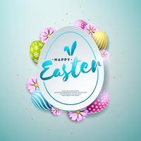 Vector illustratie van Happy Easter Holiday met Painted en lente bloem op glanzende blauwe achtergrond. Internationaal vieringsontwerp