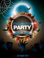 Vector illustration on a Halloween Zombie theme on dark  background.