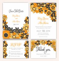 Vektorsatz Einladungskarten mit Blumenelementen, die Sammlung heiraten