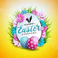 Vector Illustration of Happy Easter Holiday with Painted and Spring Flower on Shiny Yellow Background. International Celebration Design