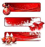 Three banner illustrations on a Christmas theme.