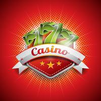 Vector illustration on a casino theme with seven symbols and ribbon