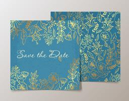 Trendy card with flower for weddings, save the date invitation.  vector