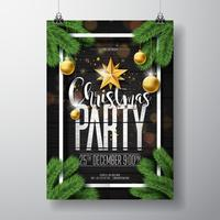 Merry Christmas Party Design with Ornaments on Wood Background