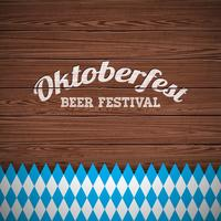 Oktoberfest vector illustration with painted letter on wood texture background.