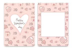 Collection of pink white colored Valentine's day card