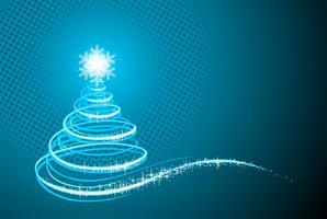 Vector l'illustrazione di festa con l'albero di Natale astratto brillante su fondo blu.