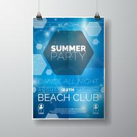 Partij flyer poster sjabloon op zomer strand thema