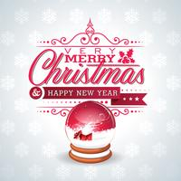 Vector l'illustrazione di Natale con il globo magico della neve e progettazione tipografica sul fondo dei fiocchi di neve.
