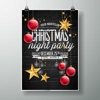 Merry Christmas Party design with gold stars & red ornaments vector