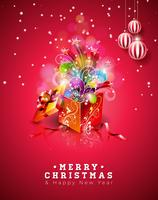 Merry Christmas Illustration on Shiny Red Background