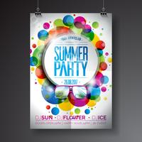 Vector Summer Party Flyer Design con diseño tipográfico