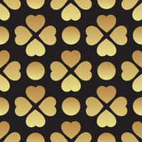 Gold seamless pattern with clover leaves, the symbol of St. Patrick Day in Ireland
