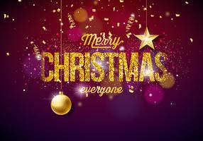 Merry Christmas Illustration on Shining background
