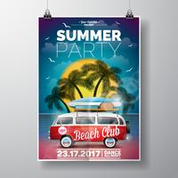 Vector Summer Beach Party Flyer Design with travel van and surf board on palm background