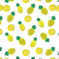 Vector summer pattern background with fruits elements in memphis style