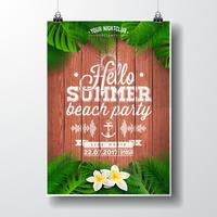 Vector Hello Summer Beach Party Flyer illustration with tropical plants and flowers.