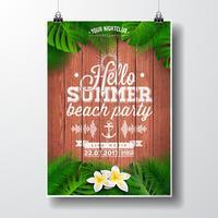 Ejemplo del aviador del partido de la playa del verano del vector hola con las plantas tropicales y las flores.