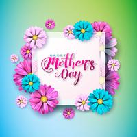 Mother's Day Greeting card with flower on pink background