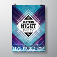 Vector Summer Beach Party Flyer poster template on abstract background.