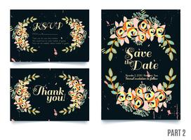 weddings, save the date invitation, RSVP and thank you cards.  vector