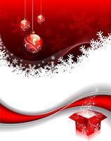 Christmas illustration with gift box and shiny glass ball.