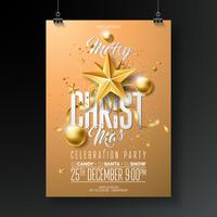 Merry Christmas Party Flyer Illustration with Gold Ornaments