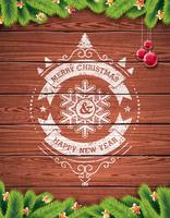 Painted vintage Merry Christmas and Happy New Year typographic design with red glass ball vector