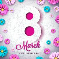 8 March Happy Women's Day Floral Greeting card