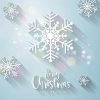 Merry Christmas Illustration with falling snowflakes