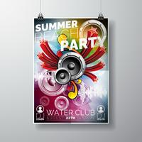 Vector zomer Beach Party Flyer Design met luidsprekers