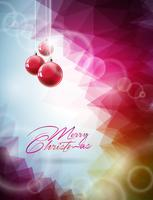 Vector Christmas illustration with red glass ball on abstract geometric background