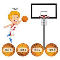 Jugador de baloncesto y pelota diferente para las frases. vector
