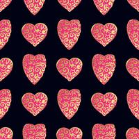 Seamless gold pattern with hearts